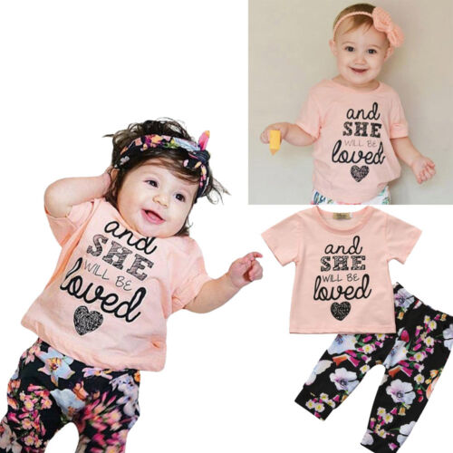 2pcs Toddler Kids Baby Girls Clothes Set Letter Floral Print Tops+Pants Outfits