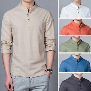 6cecf4ee5 Mens Summer Plain Cotton Linen Shirt Long Sleeved Hawaii Shirt Stand ...