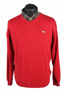 Vintage-LACOSTE-Devanlay-pull-col-V-Casual-Hiver-Retro-UK-M-Rouge-IL1721
