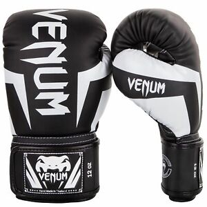 Venum-Mma-Elite-Boxhandschuhe-Schwarz-Weiss-Kickboxen-Muay-Thai-Punch-Handschuhe