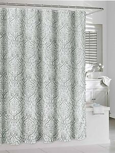 Image Is Loading Leona Gray White Sheer Fabric Shower Curtain Fl