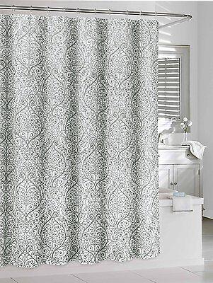 Leona Gray White Sheer Fabric Shower Curtain Floral Damask Design 840456052945 Ebay