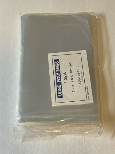 """LOT OF 100~/""""2X4/"""" CLEAR OPEN TOP 1 MIL POLY PLASTIC PACKING STORAGE BAGS~ORGANIZE"""