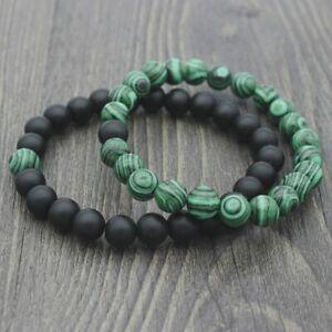 Herren-Armband-Perlen-Naturstein-Onyx-Schwarz-Turkis-Shamballa-Tibet-Mantra