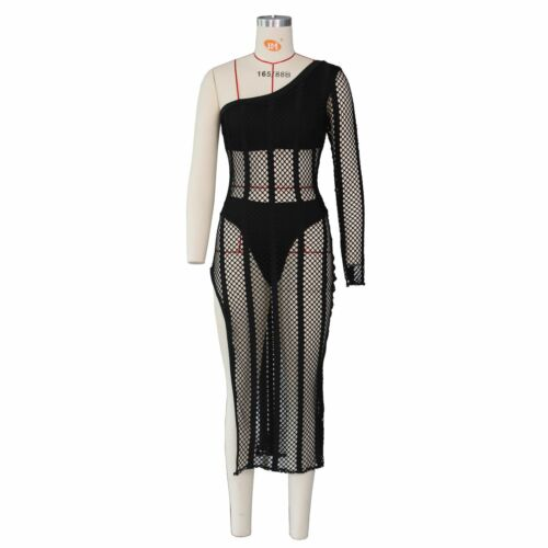 Women One Shoulder Solid Color Net See Through Bodycon Side Slit Beach Dress
