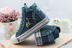 Women-Flat-Denim-Canvas-Sneakers-High-Upper-Lace-Up-Sports-Casual-Walking-Shoes