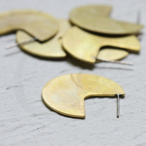 CW-4159C One Pair Raw Brass Flat Round Earring Post With Sterling Silver Pin
