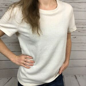 Anthropologie-Postmark-Cream-Metallic-Short-Sleeve-Tee-Shirt-Top-Women-039-s-Medium