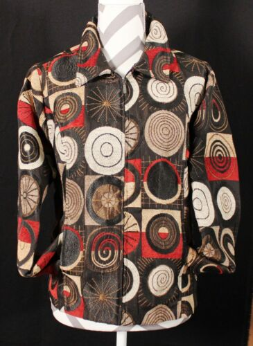Christopher & Banks Brown, Black and Red Swirl Jac