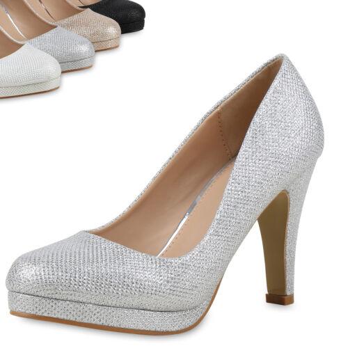 Damen Abiball Party Pumps Glitzer High Heels Schuhe Stiletto Hochzeit 814218 Top