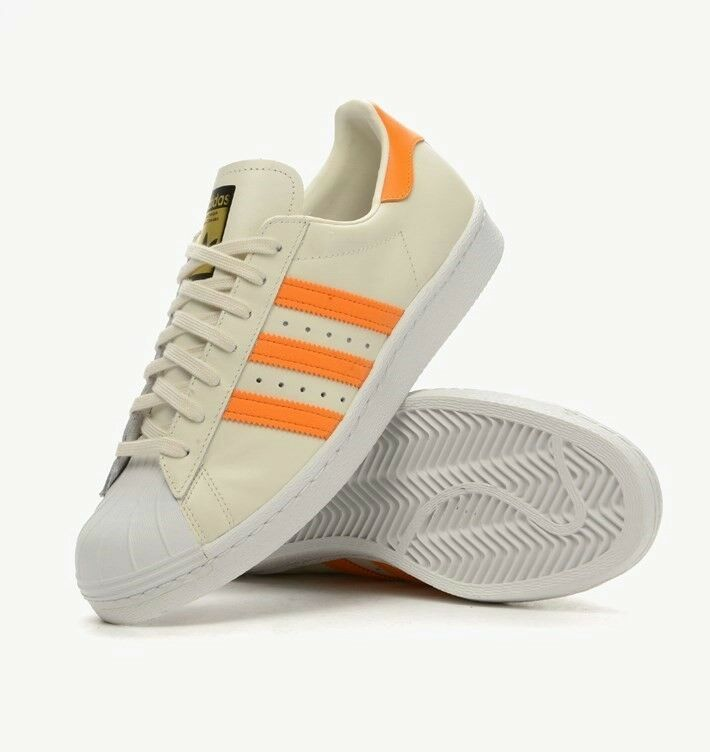 ADIDAS ORIGINALS SUPERSTAR 80'S Damenschuhe TRAINERS PALE BEIGE / ORANGE SIZE 4 - 5.5