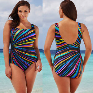 eb913d1636 WOMEN S QUALITY RAINBOW PLUS SIZE ONE PIECE SWIMSUIT PUSH UP BIKINI ...