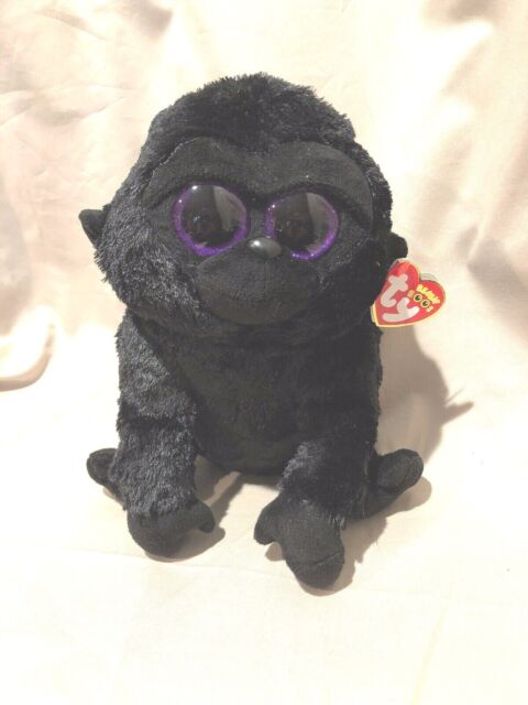 """TY BEANIE BABY Boo Collection black purple GEORGE THE GORILLA 6/"""" small plush"""