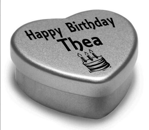 Happy Birthday Thea Mini Heart Tin Gift Present For Thea WIth Chocolates