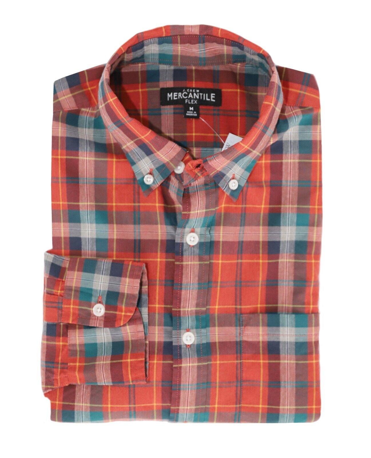 J.Crew Mercantile Men's M Classic Fit - orange Green Plaid Flex Washed Shirt