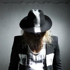 ByTheR Men s Black Gothic Fashion White Mohican Custom Wool Felt Fedora Hat  UK f5ef8000732a