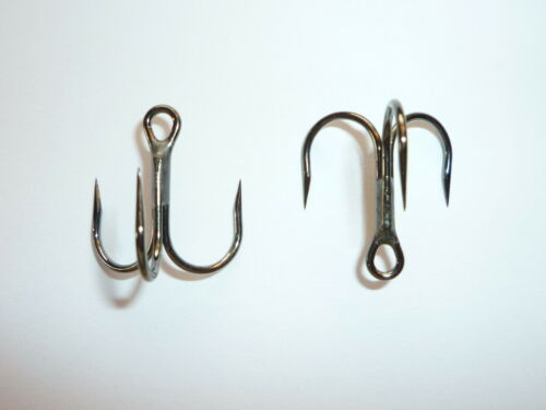 100  BARBLESS Eagle Claw SHORT SHANK   Treble Hooks  Size 2 BLACK  FISHING LURES