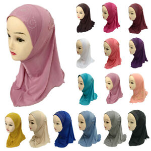 Muslim-One-Piece-Children-Hot-Drilling-Pearl-Floral-Bead-Hijab-Islamic-Scarf-Cap