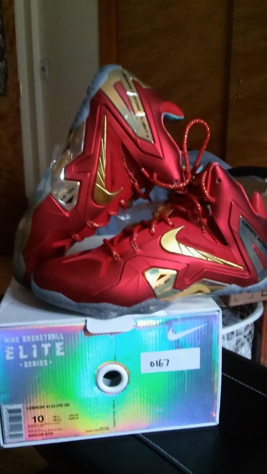 Nike LeBron Elite se universidad Rojo SZ W / Metallic Oro SZ Rojo 10 480bdb