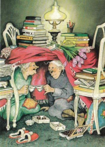 Kunstkarte Bücher Unterm Tisch mit Kaffee Postcard Art 10 Inge Löök Nr