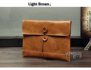 0cc1aca3d3fb Men s Handmade Vintage 100% Genuine Leather Envelope Clutch Bag