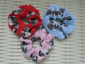 PUG-SCRUNCHIES-PINK-BLUE-amp-RED-PUGS-HAIR-TIE-SCRUNCHY-GIFT-GIRLS-ADULTS-BANDS