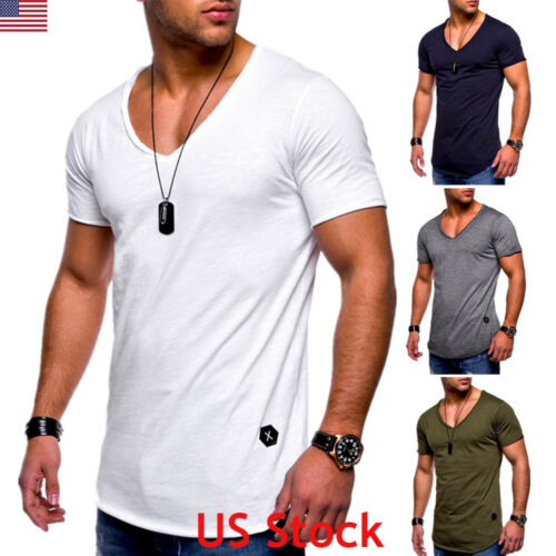 NEW Men Male Slim Fit V Neck Short Sleeve Muscle Tee T-shirt Casual Tops Blouse