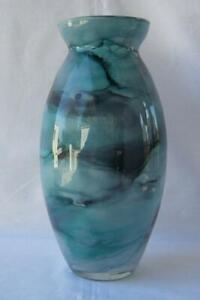 Genuine-Art-Glass-Vase-by-Franco-Italy-Blue-Black-Pastel-No-690