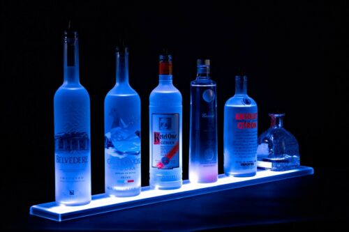 LED Lit Acrylic Bottle Display 4ft 11in Shelf