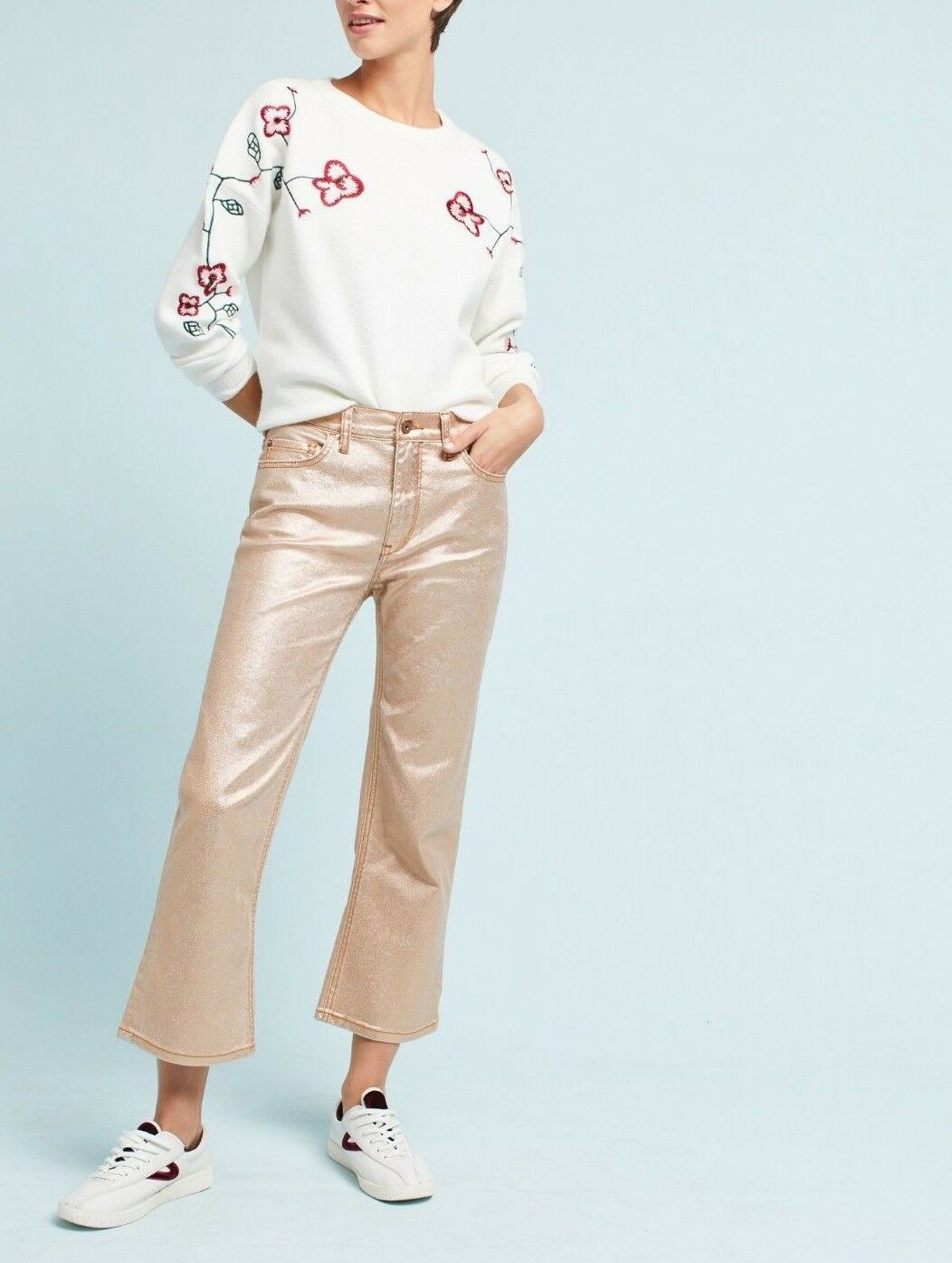 Anthropologie Pilcro Coated High-Rise Cropped Flare Jeans  - NWT