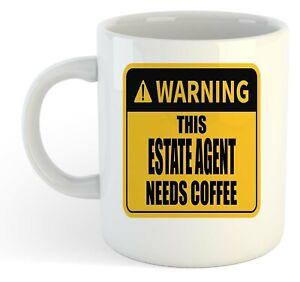 Warning-Esta-Estate-Agente-Necesita-Cafe-Blanco-Taza-Regalo-Trabajo-Regalo