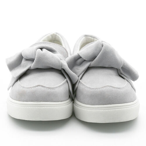 Women Flat Casual Sneakers Bow Loafers Slip On Trainers Plimsolls Shoes SO