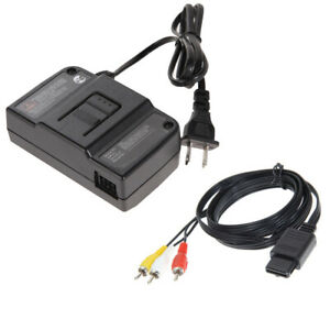 AC-Adapter-Power-Supply-W-AV-Cable-Cord-For-Nintendo-64-N64-Bundle-Lot