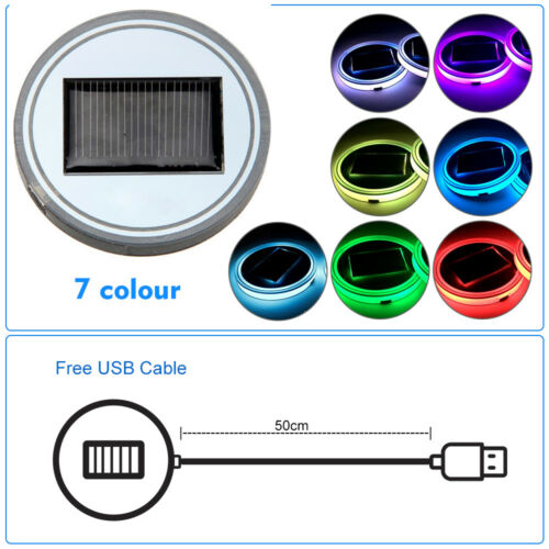 2pcs Universal Car Solar Cup Holder Bottom USB RGB Led 7colors Atmosphere Lights