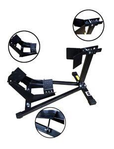 Black-Motorbike-Front-Stay-Wheel-Chock-Paddock-Garage-Stand-Motorcycle-15-19-034-UK