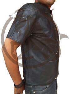 genuino Cremallera cuero frontal Camiseta perforada manga corta de de YxAUTX