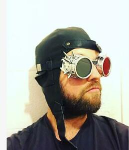 Des 3 Unisex Aviator Pilot Steam Punk Faux Leather Motorbike Hat with Goggles