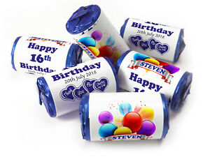 Personalised-Mini-Love-Heart-Sweets-for-Birthday-Age-favours-Blue-Foils-Boy-V0