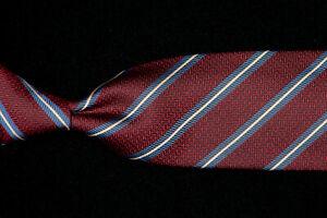 HICKEY-FREEMAN-Tie-Lake-Blue-White-Repp-Stripes-on-Burgundy-Silk-USA