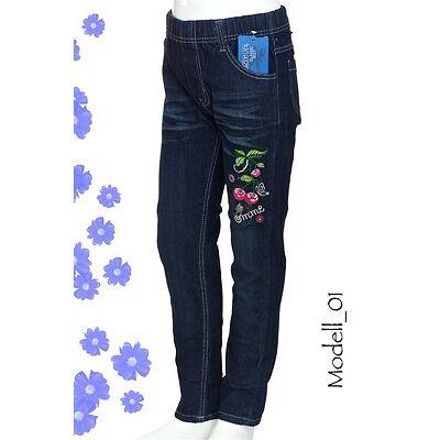 Mädchen Jeans Kinder Denim Hose mit Stickerei NEU Dunkelblau Rundum-Gummibund