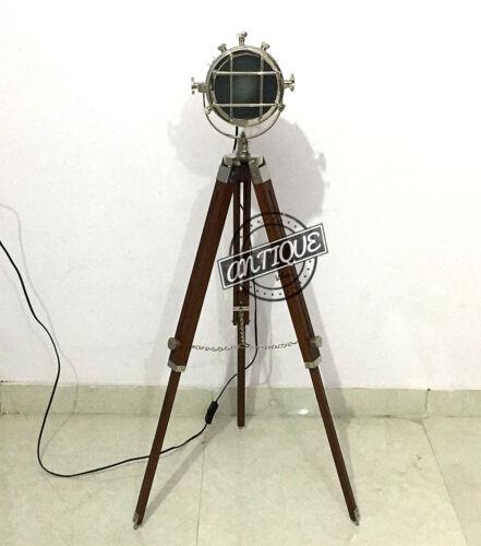 Valentine Wooden Stand Tripod Vintage Floor Spot light Lamp Searchlight Lamp