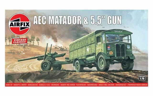 """AIRFIX 1:76 Scale BRITISH AEC MATADOR & 5.5 """"GUN MODEL KIT - A01314V"""