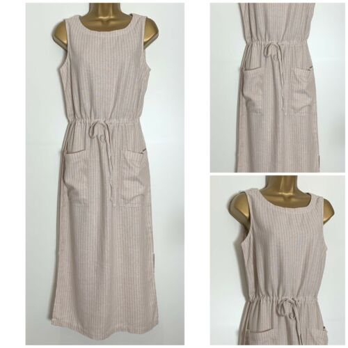 n-83h Next Neutral Linen Blend Sleeveless Midi Dress Sizes 8-26 Reg /& Tall