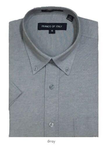 Chemise homme boutonnée à manches courtes chemises en coton mélangé Oxford #02BS Toutes Tailles