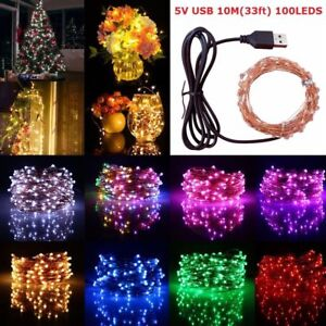 USB-5M-10M-50-100-LED-Copper-Wire-String-light-Indoor-Outdoor-Decor-Fairy-Light