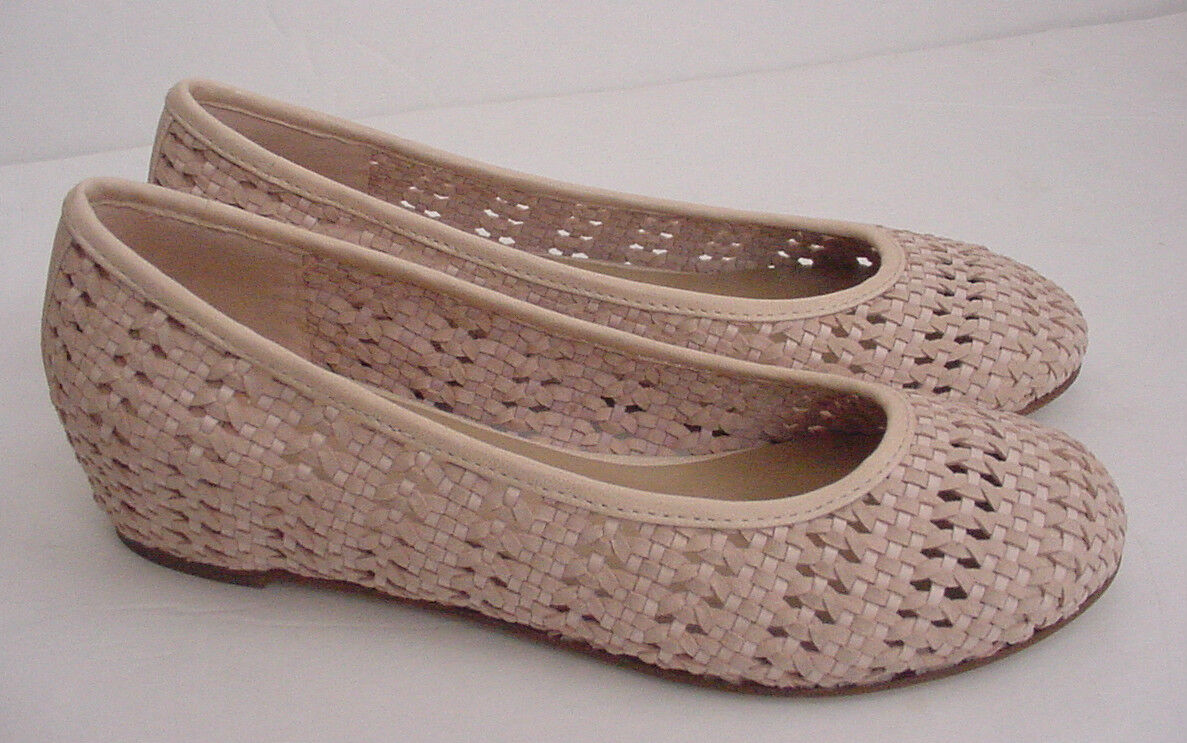 NEW Eileen Fisher Sew Rose Water Strap Weave Ballet Flat Leather Shoe 6.5 $215