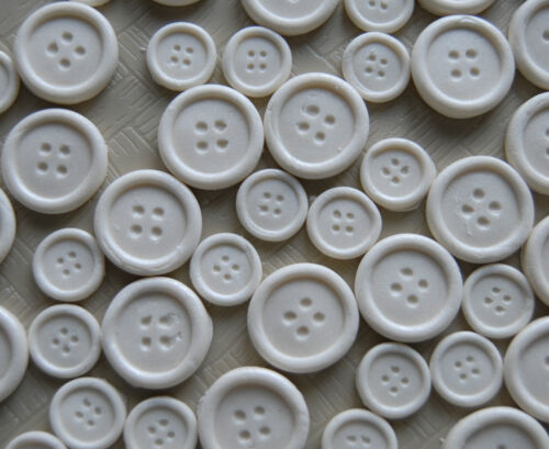40 IVORY edible sugar paste BUTTON buttons cupcake cake topper  two sizes