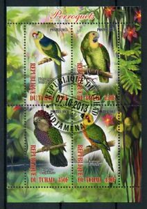 Chad-2013-CTO-pappagalli-pappagallo-4v-M-S-perroquets-birds-stamps