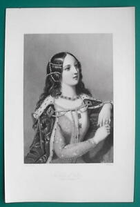 ISABELLA-OF-VALOIS-Queen-of-England-Wife-of-King-Richard-II-1862-Antique-Print