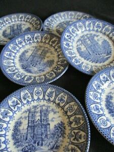 Churchill-Blue-amp-White-Royal-Heritage-Westminster-Abbey-pattern-Side-plates-x-6
